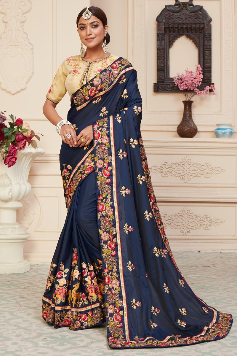 Art Silk Fabric Function Wear Alluring Embroidered Saree In Navy Blue Color