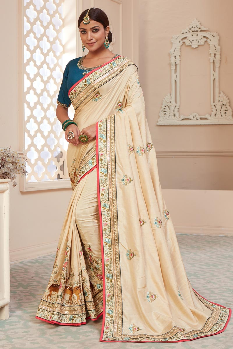 Function Wear Beige Color Alluring Art Silk Fabric Embroidered Saree
