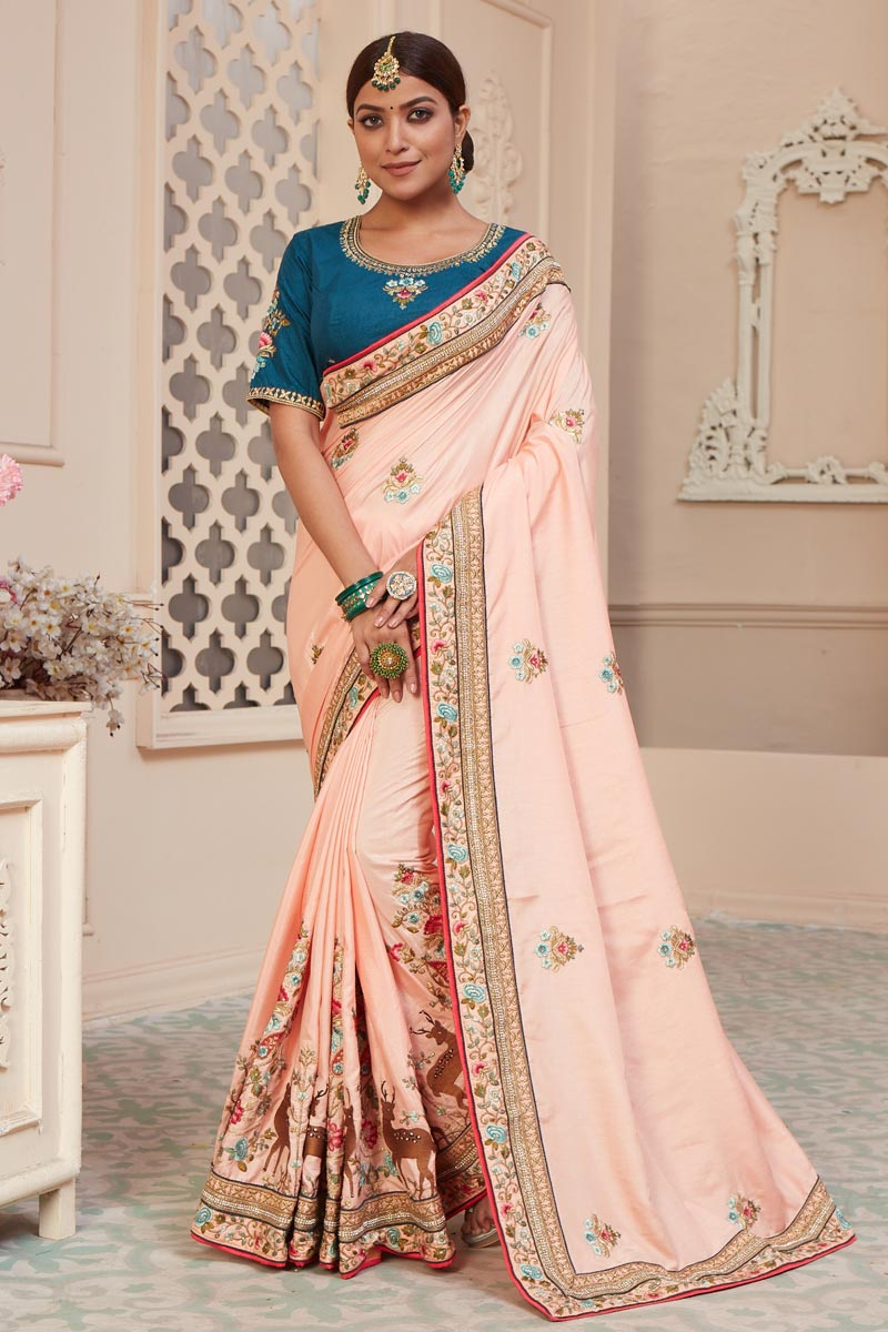 Function Wear Art Silk Fabric Alluring Embroidered Saree In Pink Color