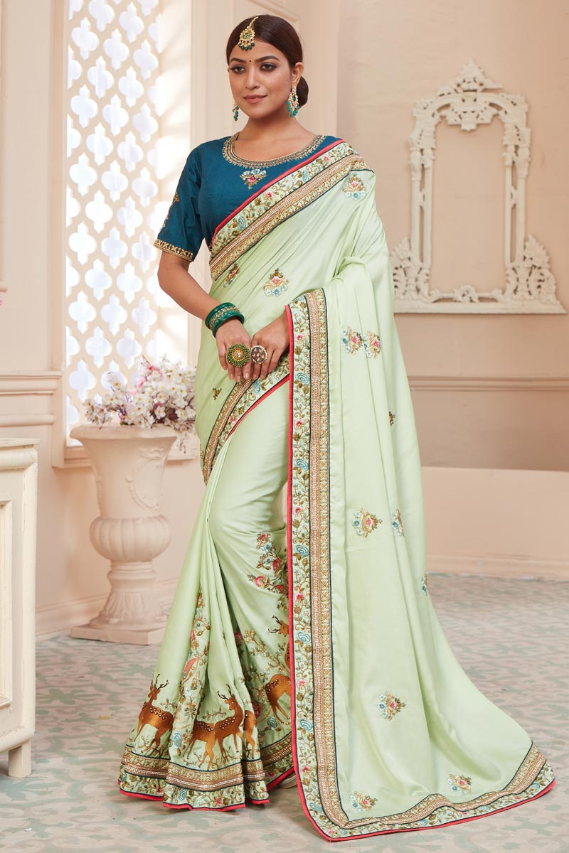 Sea Green Color Function Wear Alluring Art Silk Fabric Embroidered Saree