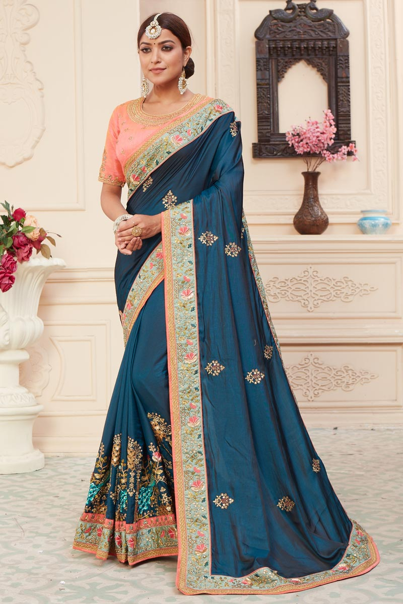 Teal Color Alluring Function Wear Art Silk Fabric Embroidered Saree