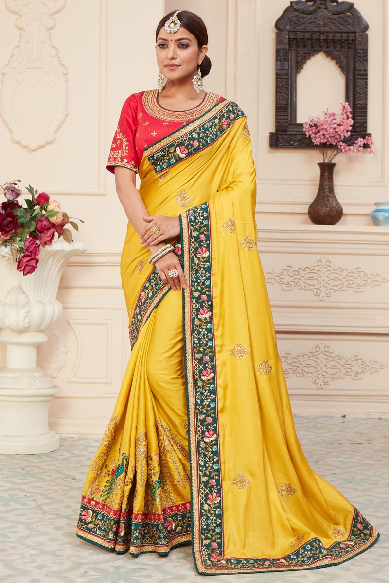 Art Silk Fabric Function Wear Yellow Color Alluring Embroidered Saree
