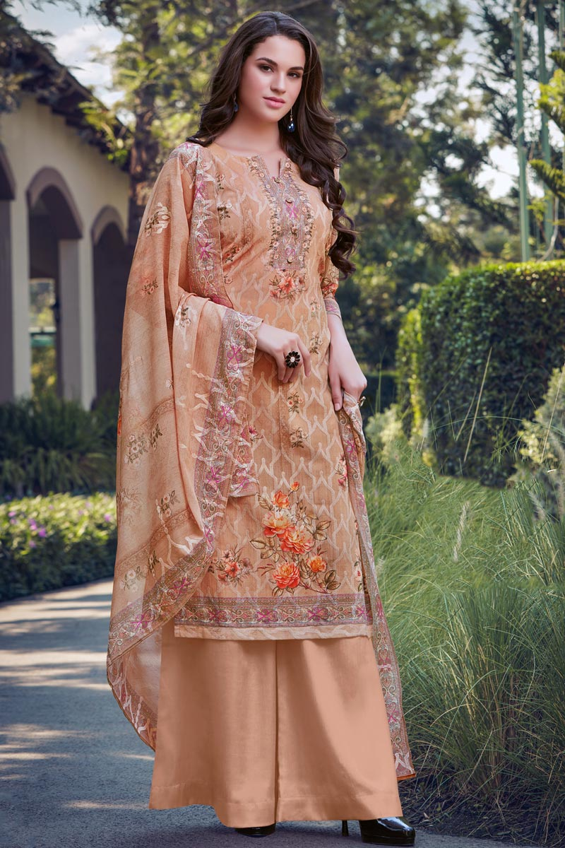 Peach Color Casual Wear Embroidered Georgette Fabric Palazzo Dress