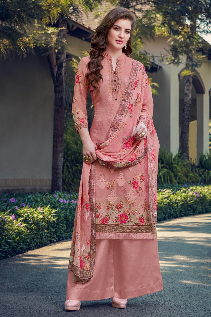 Georgette Fabric Casual Wear Pink Color Embroidered Palazzo Suit