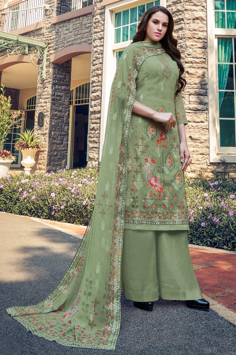 Sea Green Color Georgette Fabric Casual Wear Embroidered Palazzo Dress