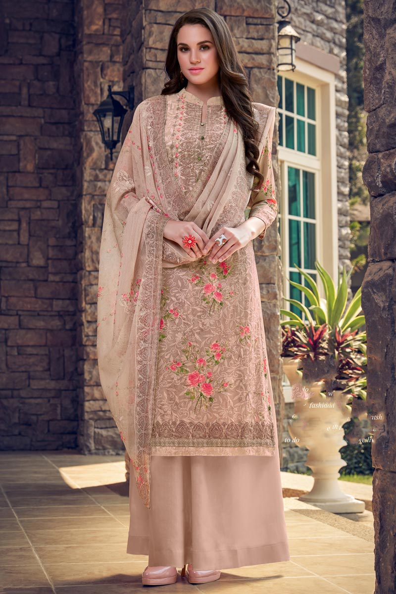 Georgette Fabric Casual Wear Embroidered Palazzo Dress In Chikoo Color