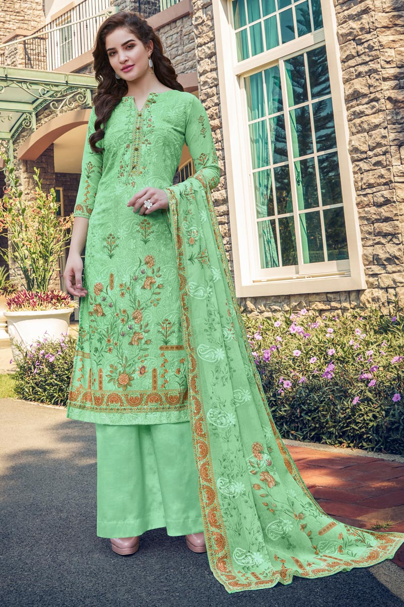 Casual Wear Georgette Fabric Sea Green Color Embroidered Palazzo Suit
