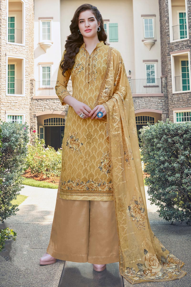 Georgette Fabric Casual Wear Embroidered Mustard Color Palazzo Suit