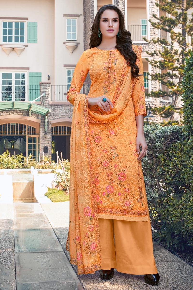 Georgette Fabric Casual Wear Embroidered Orange Color Palazzo Dress
