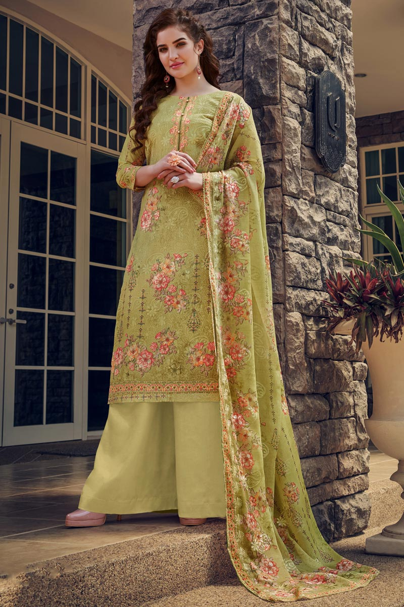 Green Color Casual Wear Georgette Fabric Embroidered Palazzo Suit