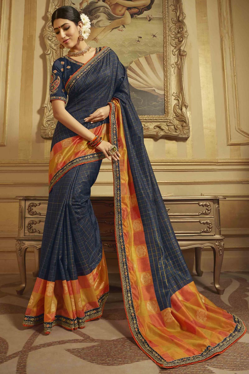 Sangeet Wear Art Silk Saree In Navy Blue With Embroidered Blouse