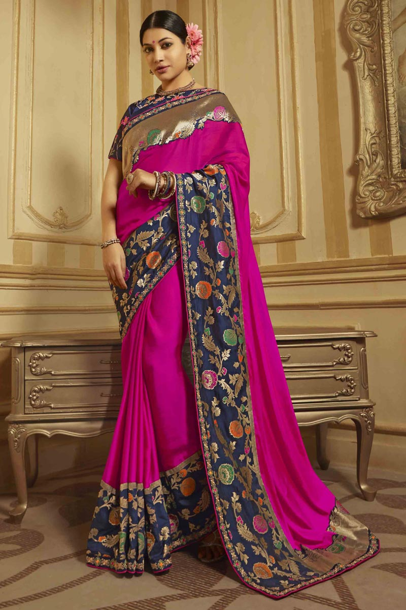 Art Silk Sangeet Wear Magenta Color Saree With Embroidered Blouse