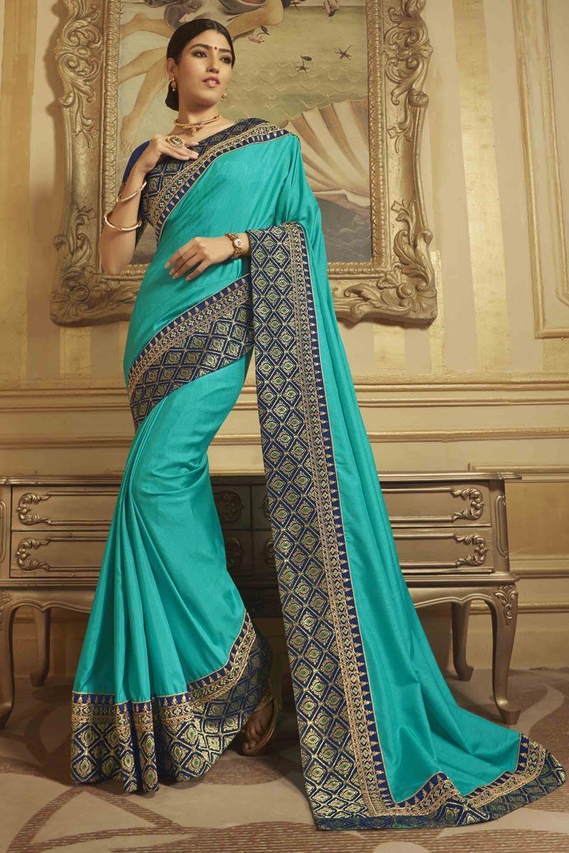 Sangeet Wear Art Silk Cyan Saree With Embroidered Blouse
