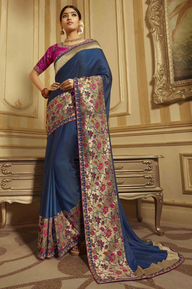 Art Silk Sangeet Wear Navy Blue Saree With Embroidered Blouse