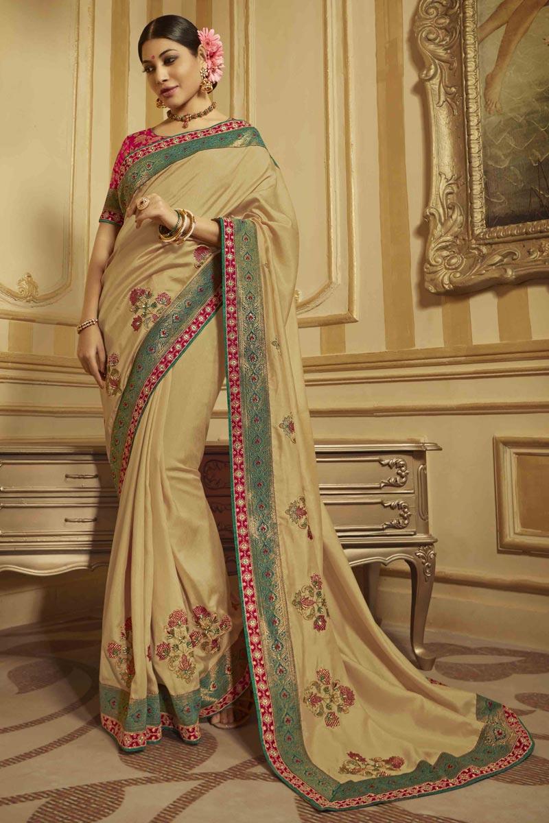 Sangeet Wear Art Silk Beige Saree With Embroidered Blouse