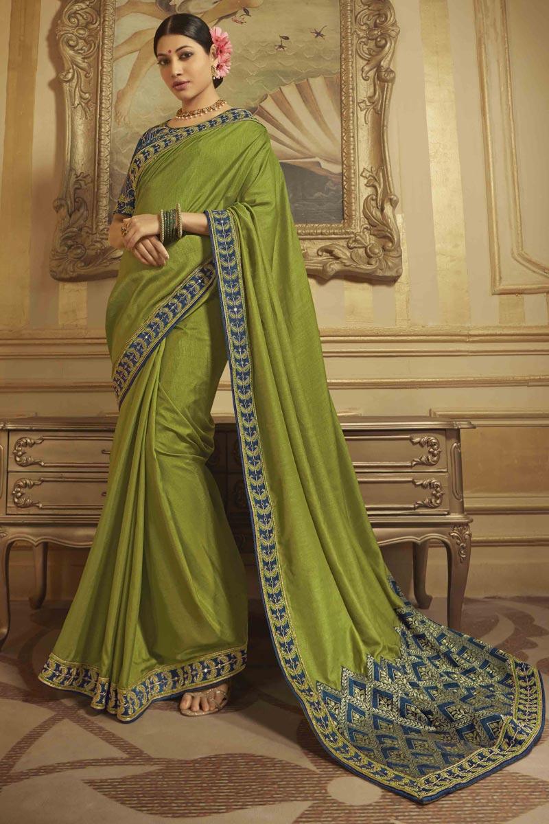 Art Silk Green Sangeet Wear Saree With Embroidered Blouse