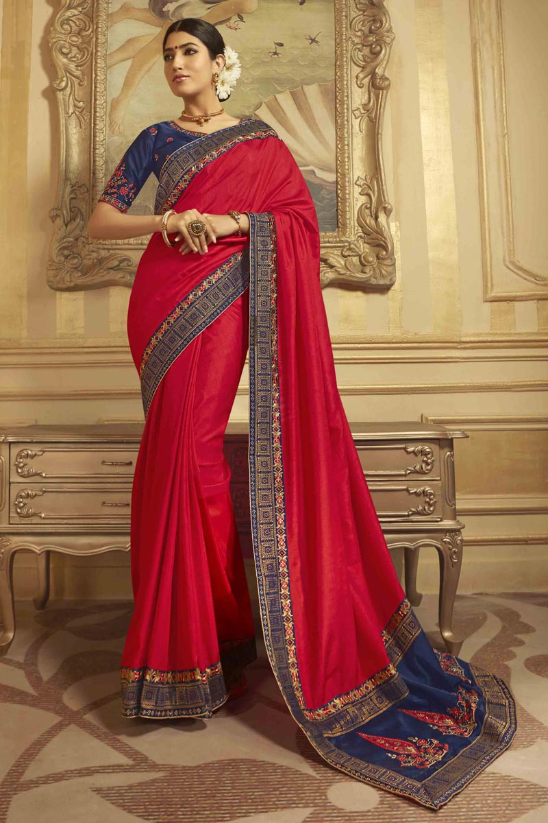 Sangeet Wear Red Saree With Embroidered Blouse In Art Silk