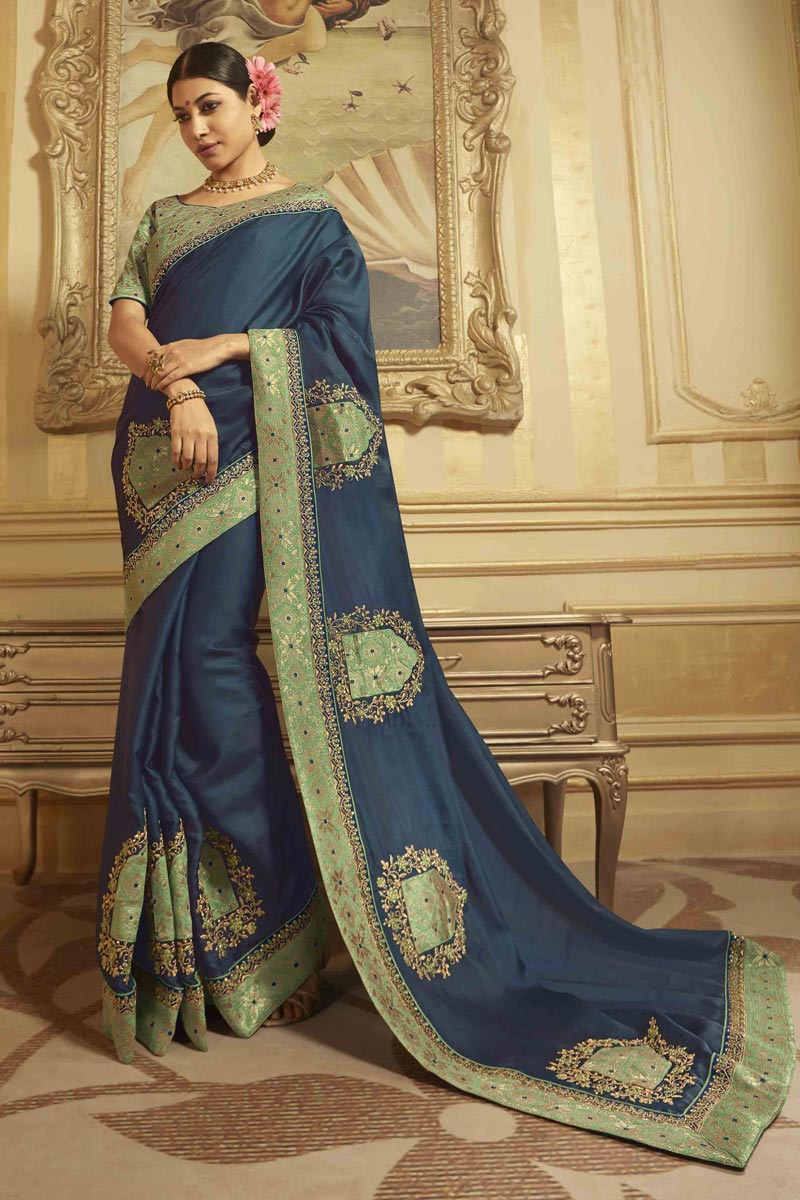 Navy Blue Sangeet Wear Art Silk Saree With Embroidered Blouse