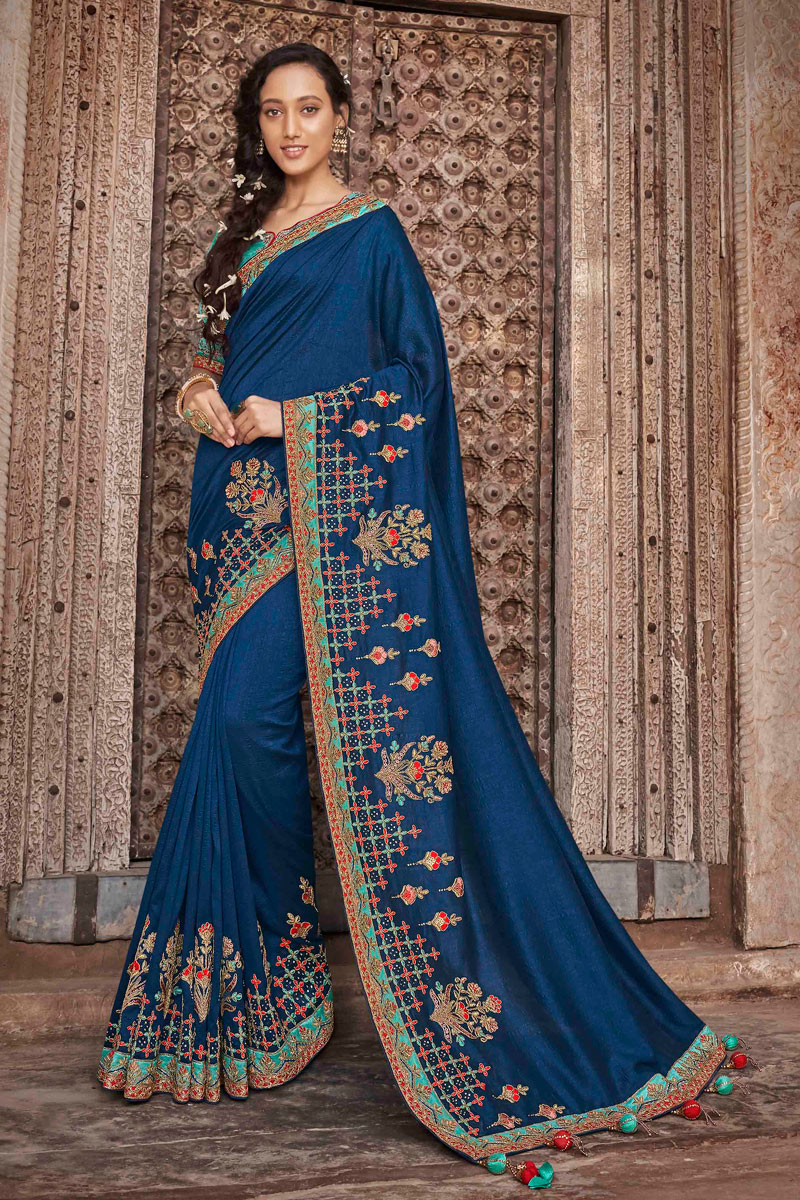 Navy Blue Art Silk Reception Wear Saree With Embroidery Work