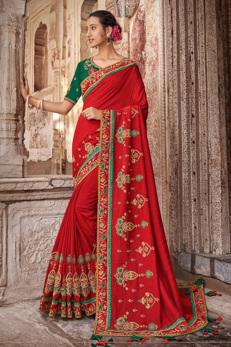 Art Silk Fabric Red Wedding Wear Saree With Embroidery Work