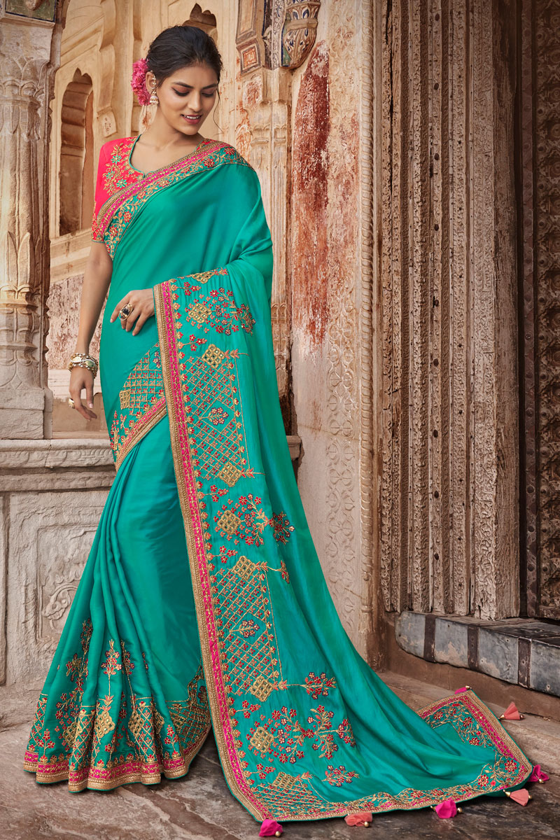 Embroidery Work On Occasion Wear Saree In Cyan Color With Designer Blouse