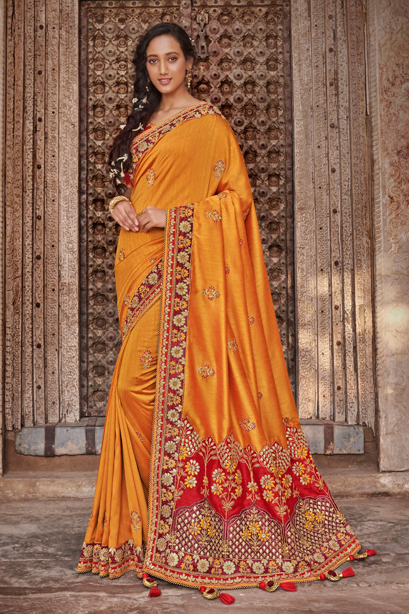 Function Wear Art Silk Fabric Embroidery Work On Saree In Orange Color With Alluring Blouse
