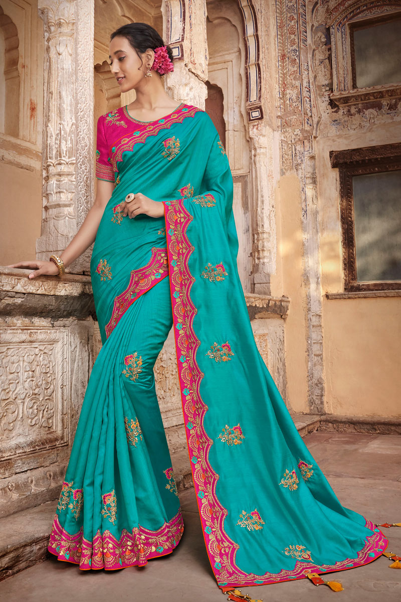Embroidery Work On Reception Wear Saree In Art Silk Fabric Cyan Color With Charming Blouse