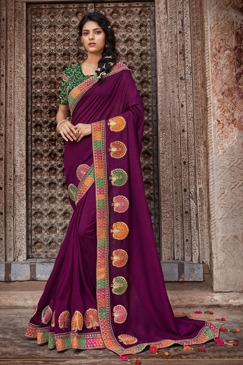 Purple Color Designer Saree In Art Silk Fabric With Embroidery Designs And Attractive Blouse