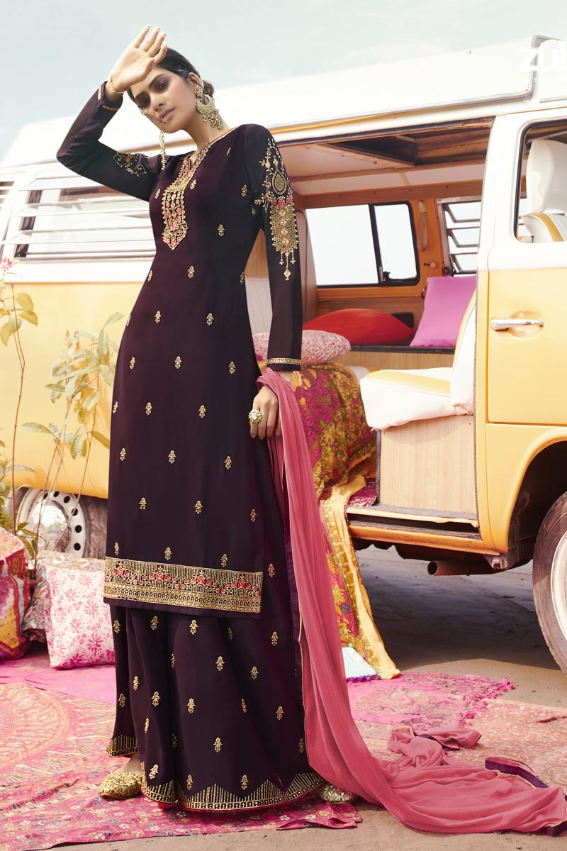 Wine Color Function Wear Trendy Embroidered Georgette Fabric Palazzo Suit