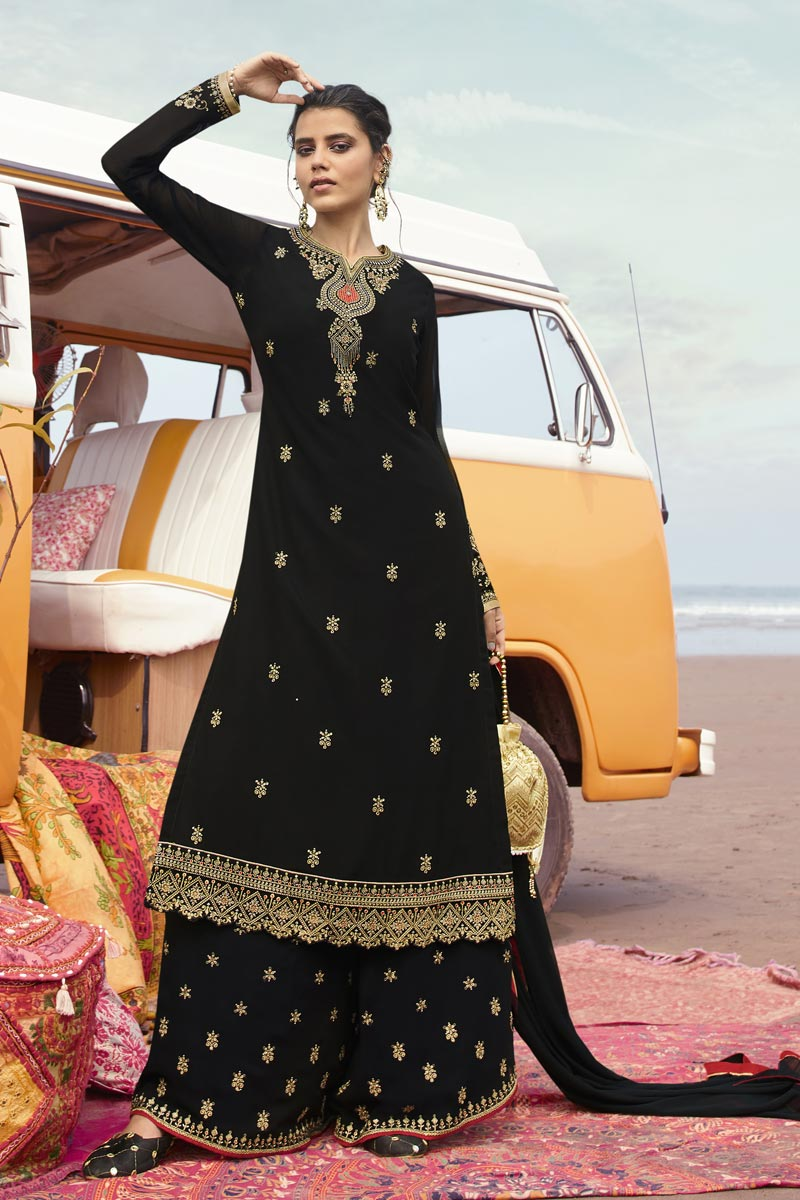 Black Color Function Wear Trendy Embroidered Georgette Fabric Palazzo Dress