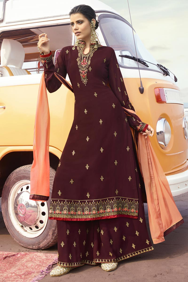 Georgette Fabric Function Wear Maroon Color Trendy Embroidered Palazzo Suit