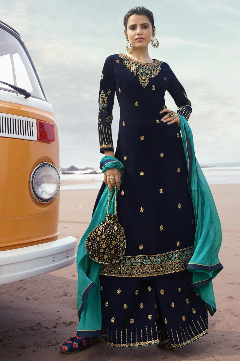 Navy Blue Color Georgette Fabric Function Wear Trendy Embroidered Palazzo Dress