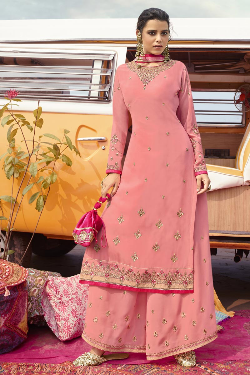 Function Wear Georgette Fabric Pink Color Trendy Embroidered Palazzo Suit