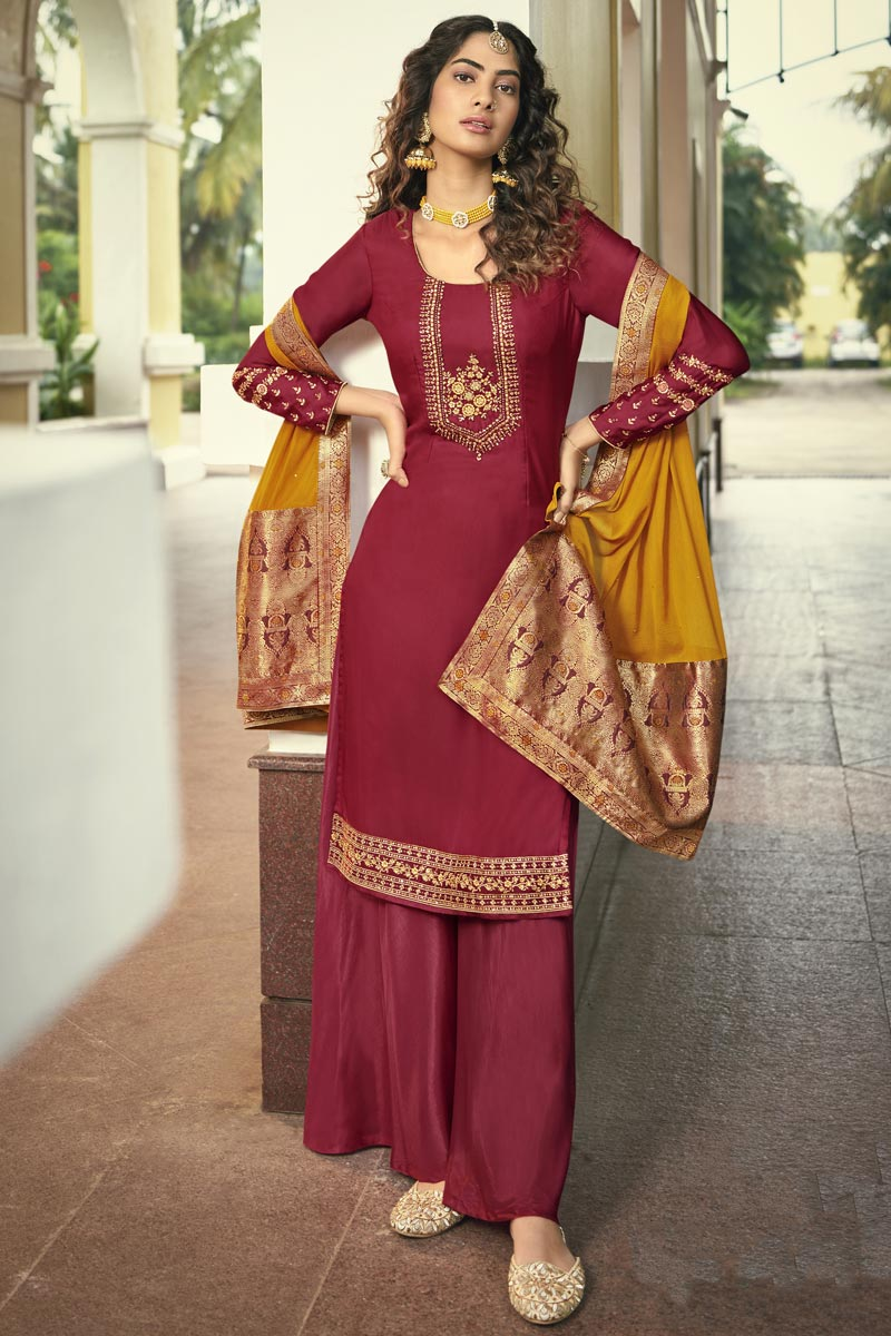 Maroon Color Fancy Embroidered Function Wear Palazzo Suit