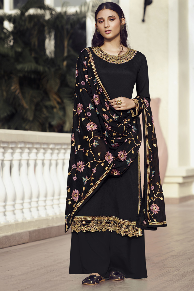 Festive Wear Designer Palazzo Salwar Suit In Black Color Chinon Fabric