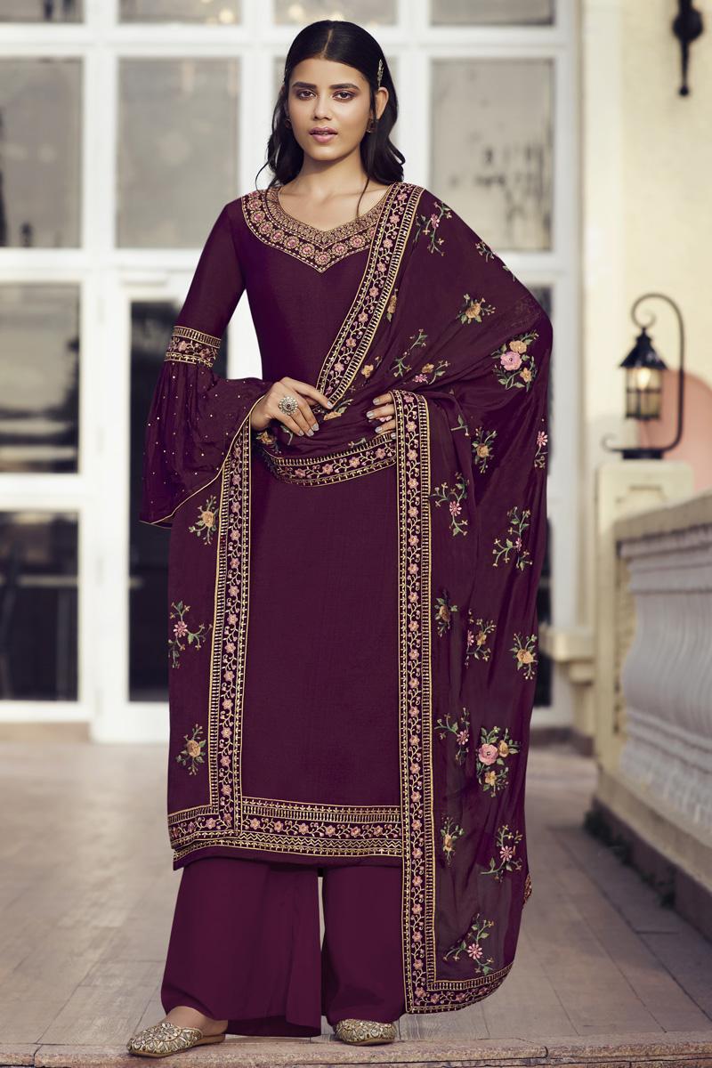 Wine Color Chinon Fabric Sangeet Wear Designer Palazzo Salwar Kameez