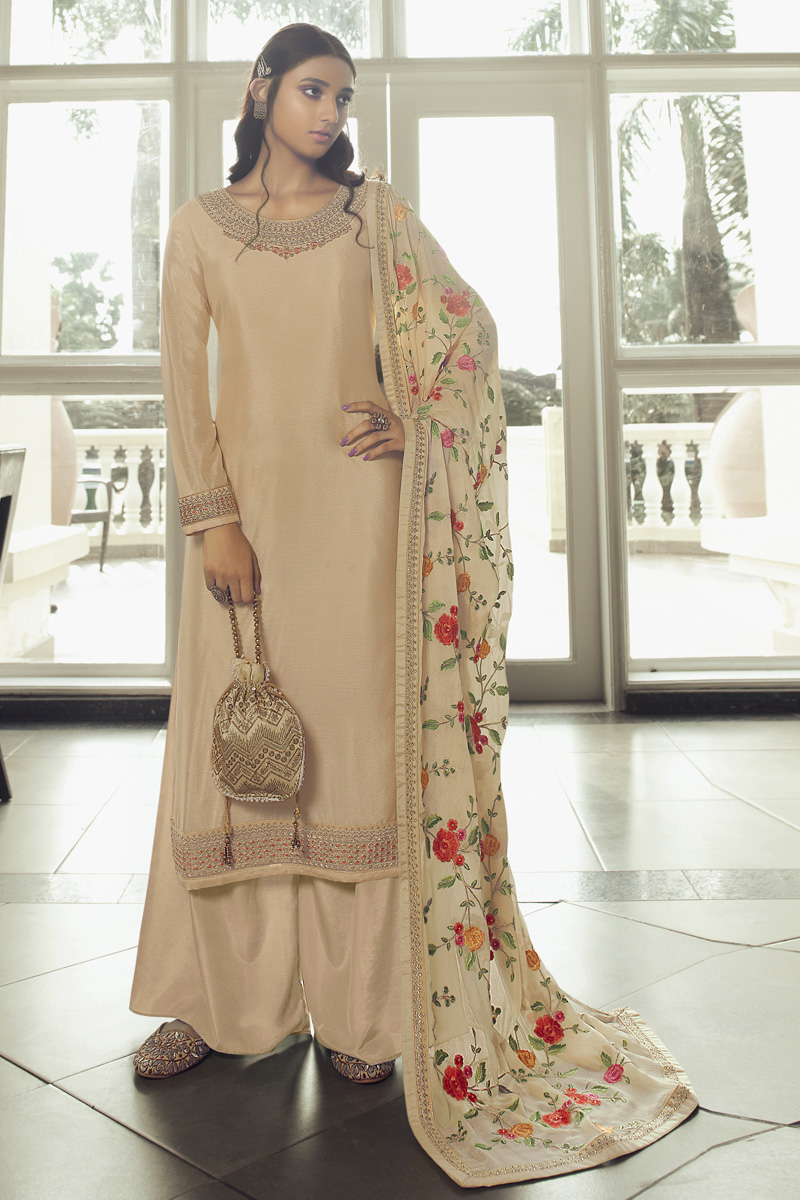Reception Wear Designer Palazzo Suit In Beige Color Chinon Fabric