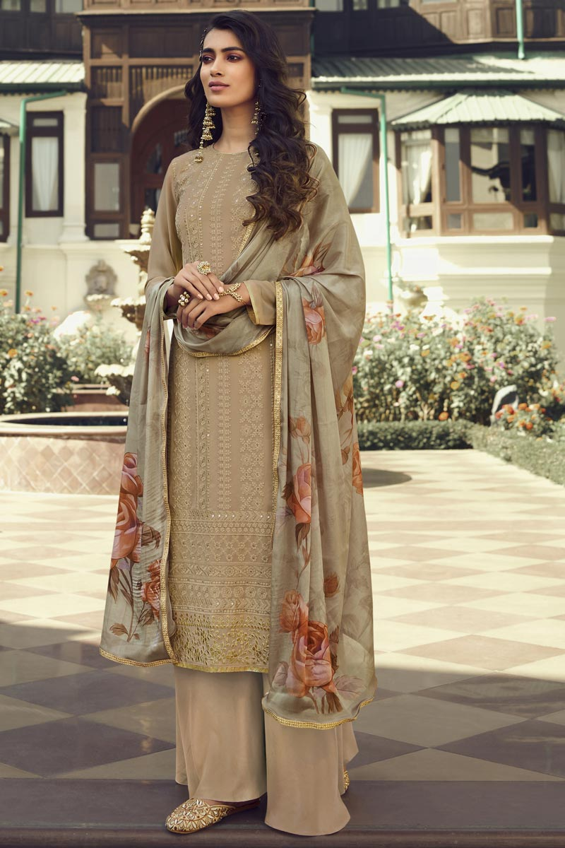 Cream Color Georgette Fabric Party Wear Designer Salwar Palazzo Suit