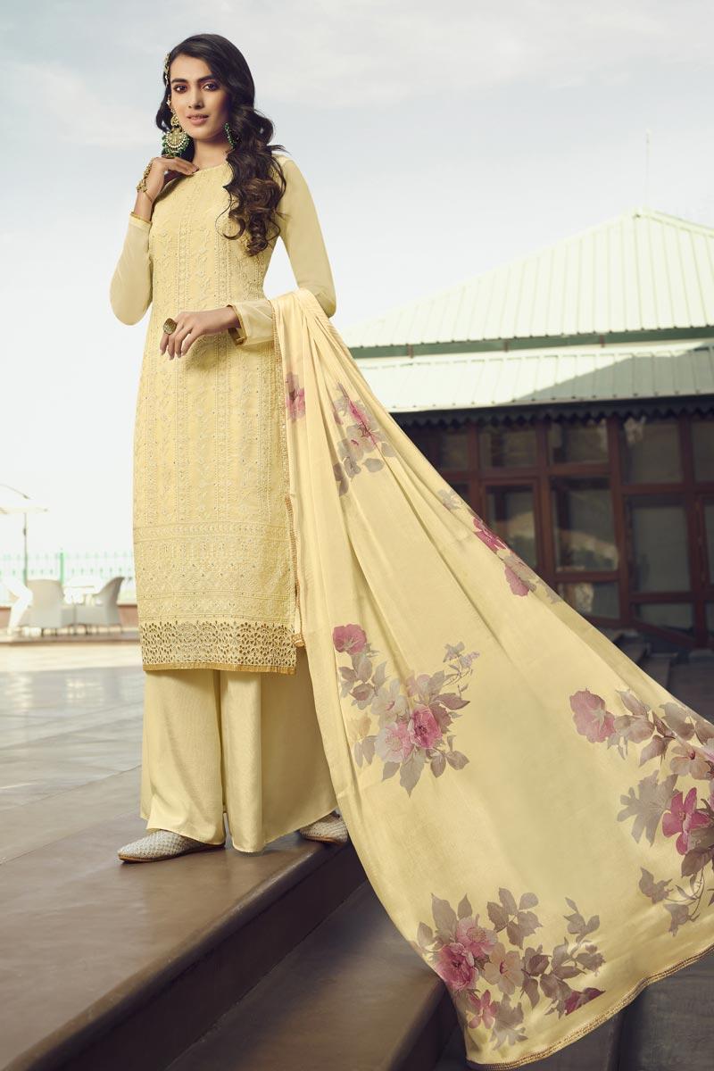Georgette Fabric Function Wear Designer Palazzo Suit In Beige Color