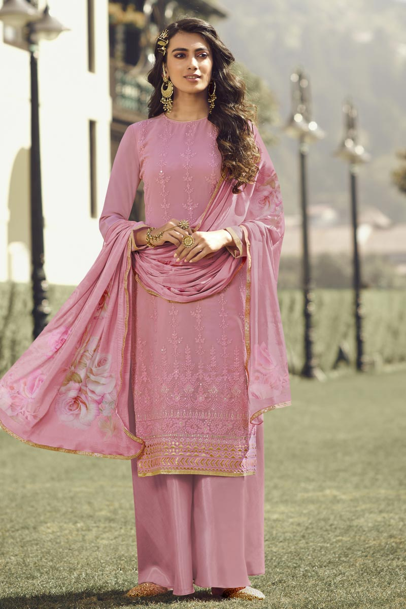Festive Wear Designer Palazzo Salwar Suit In Pink Color Georgette Fabric
