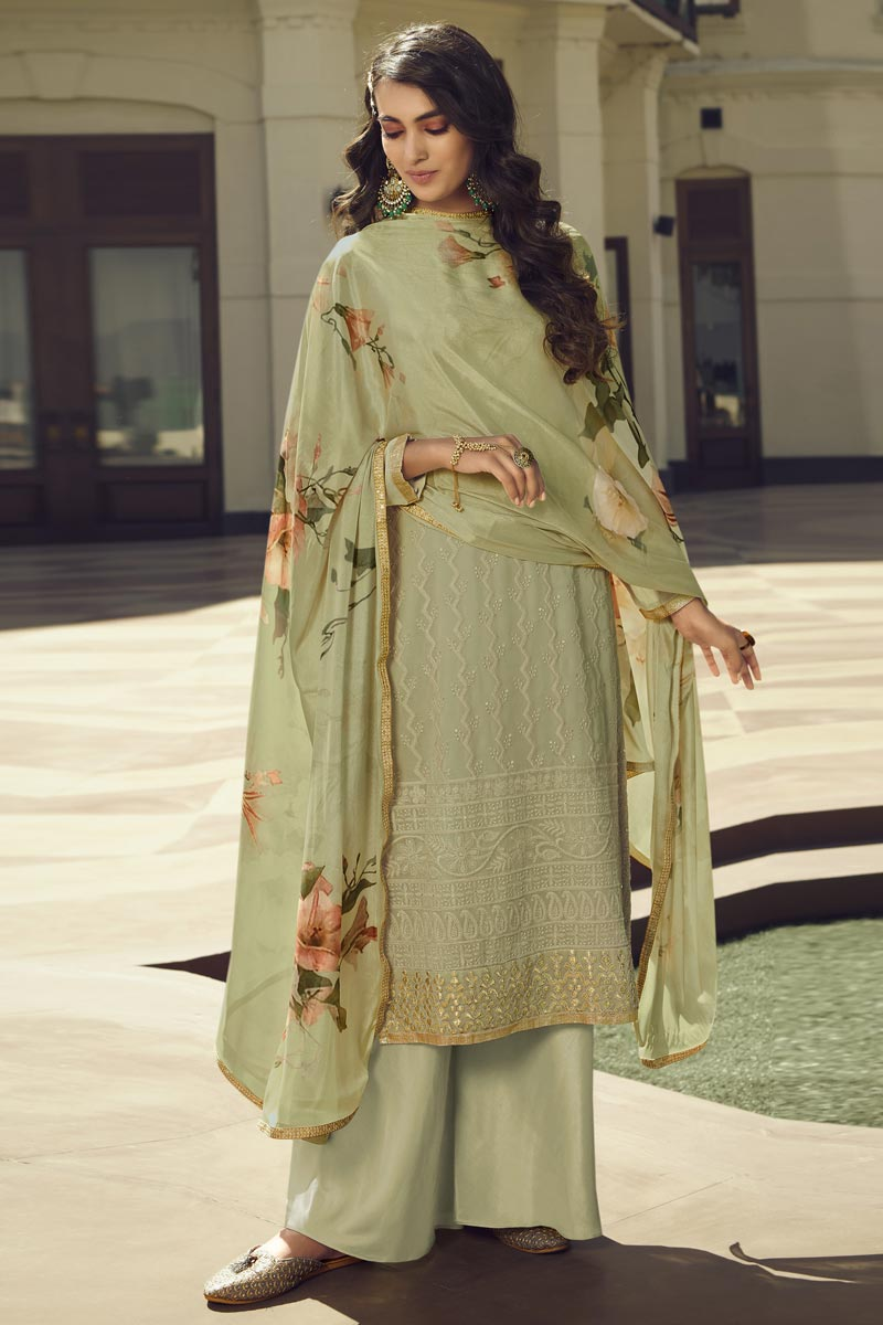Sea Green Color Georgette Fabric Sangeet Wear Designer Palazzo Salwar Kameez