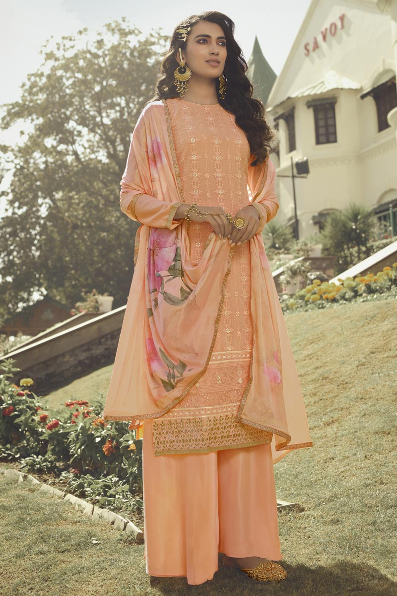 Georgette Fabric Function Wear Designer Salwar Palazzo Suit In Peach Color