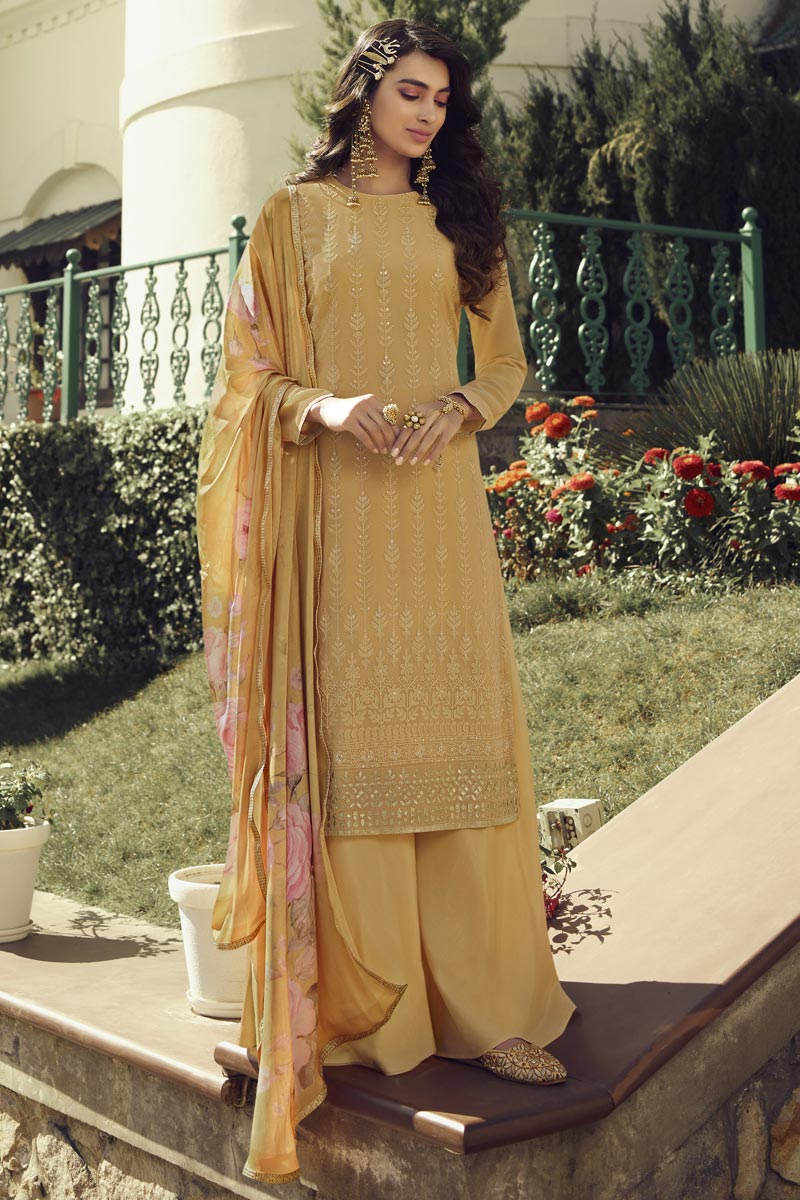 Festive Wear Designer Palazzo Suit In Yellow Color Georgette Fabric