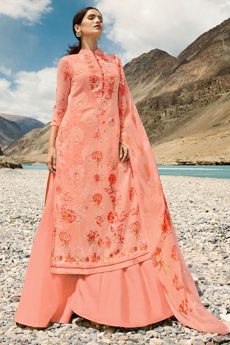 Mesmeric Georgette Fabric Salmon Palazzo Salwar Kameez
