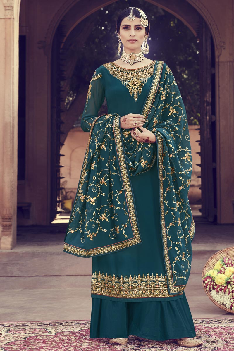 Designer Function Wear Teal Georgette Embroidered Palazzo Suit