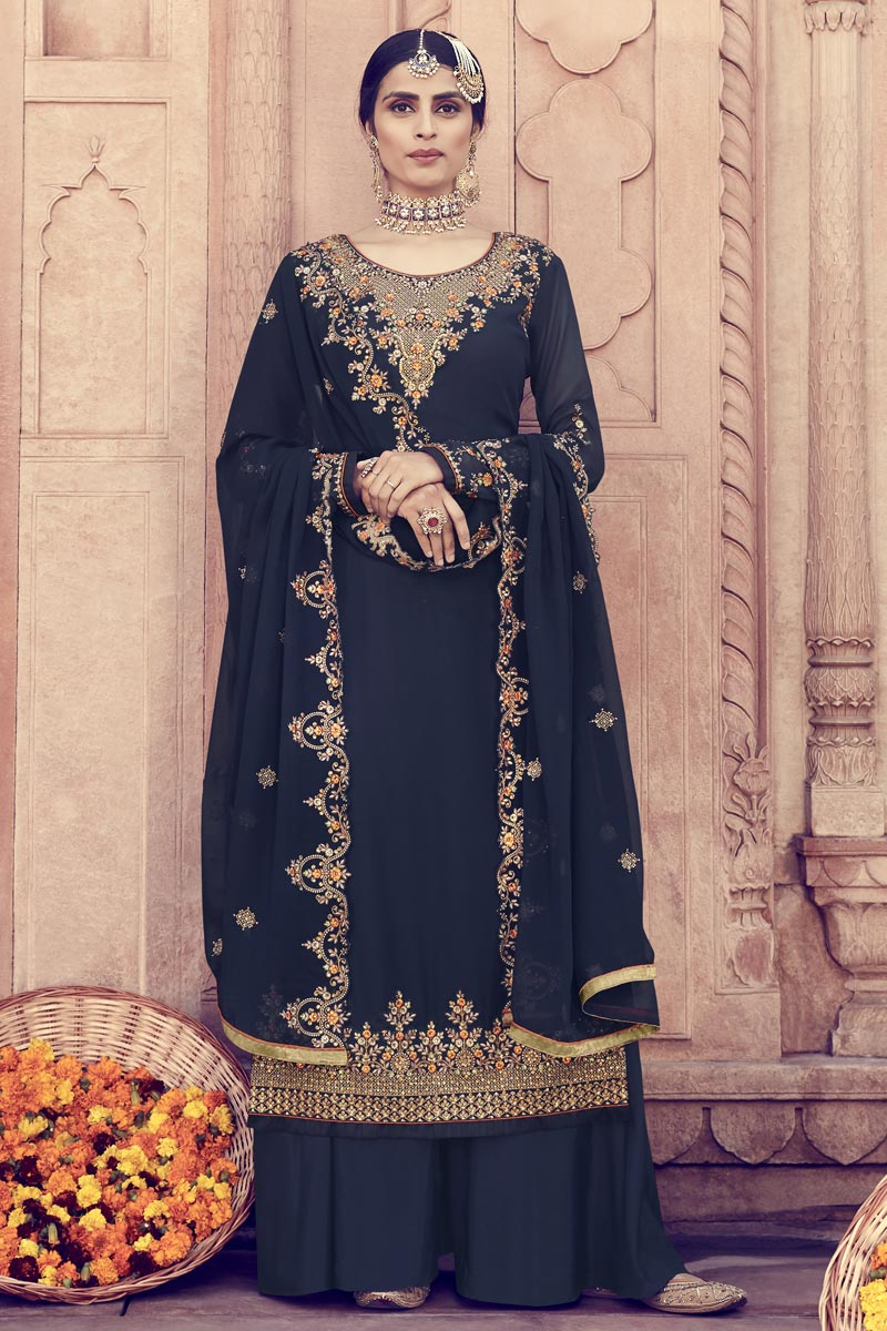 Eid Special Georgette Function Wear Designer Embroidered Navy Blue Palazzo Dress