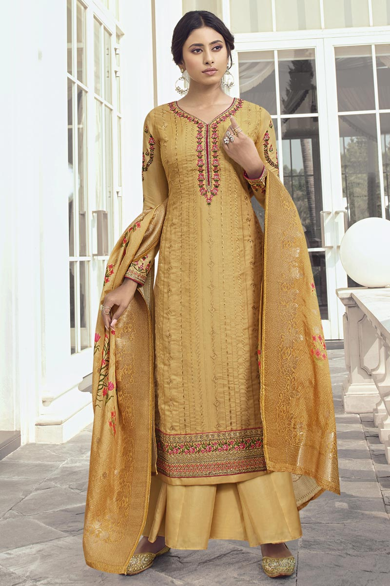 Eid Special Embroidery Work Party Wear Palazzo Suit In Satin Silk Fabric