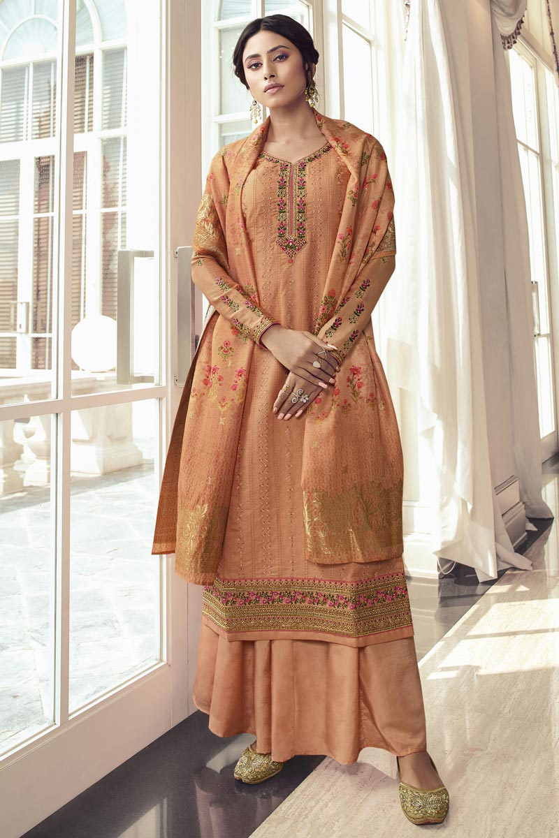 Eid Special Satin Silk Fabric Party Wear Palazzo Suit With Embroidery Work