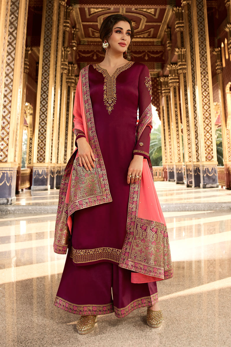 Eid Special Function Wear Satin Georgette Fabric Designer Embroidered Palazzo Dress In Maroon Color