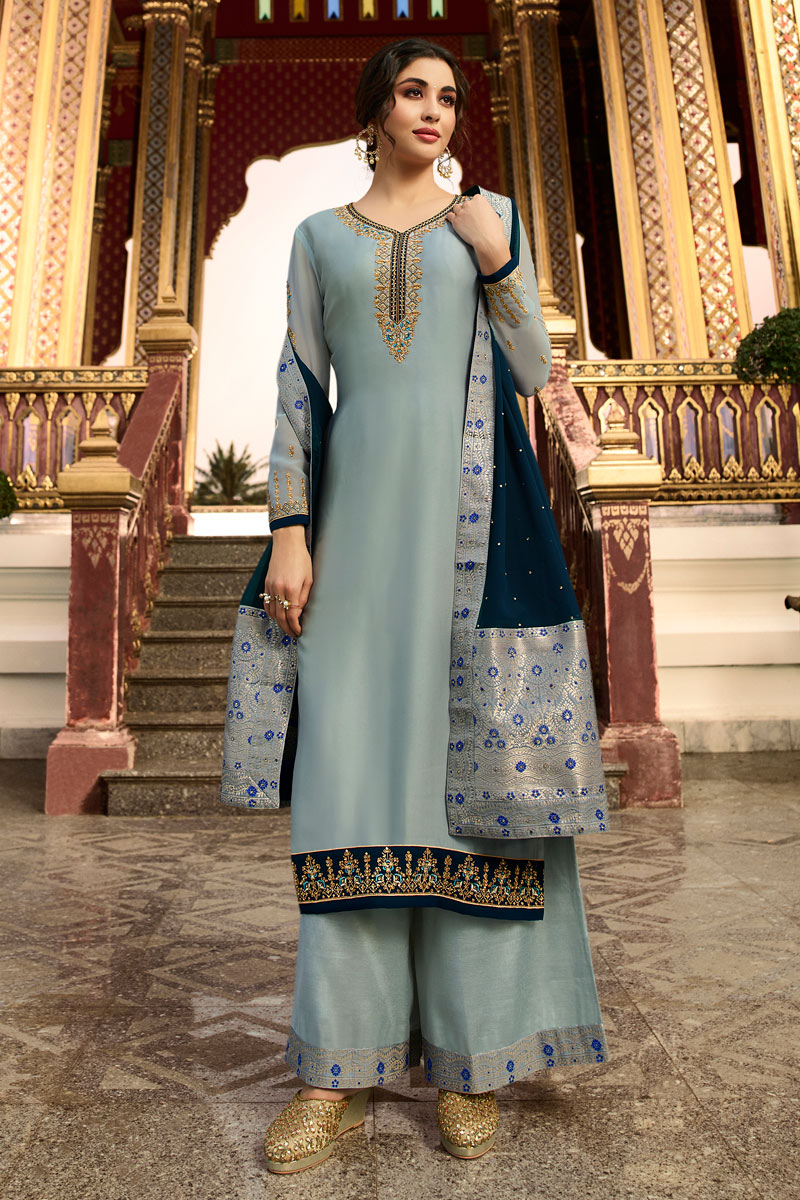 Eid Special Designer Satin Georgette Fabric Function Wear Embroidered Grey Color Palazzo Suit